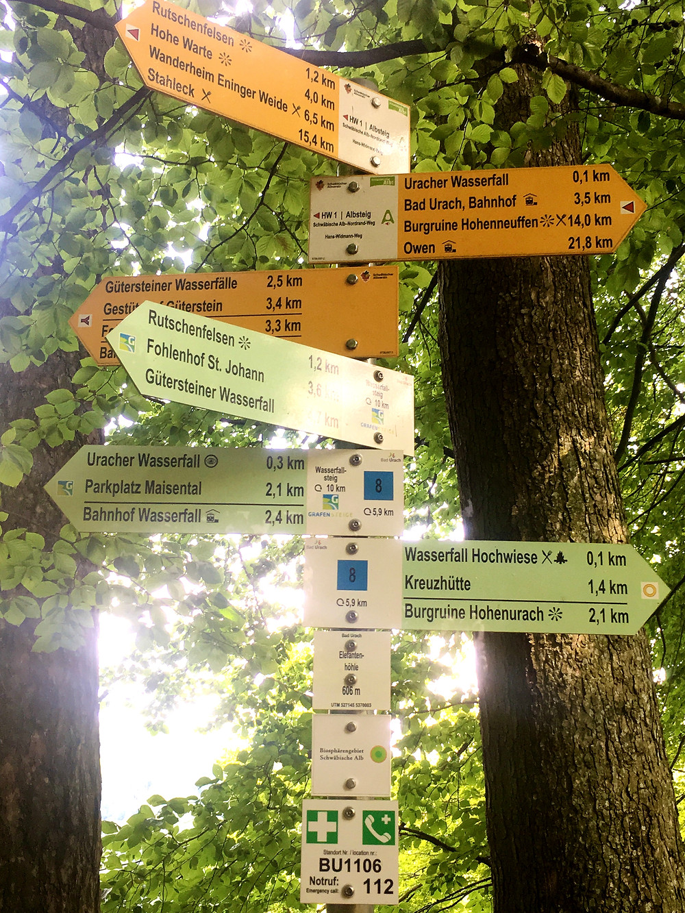 Hiking Directions post sign at Bad Urach, Germany