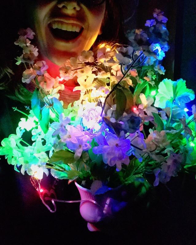 led lights on flowers