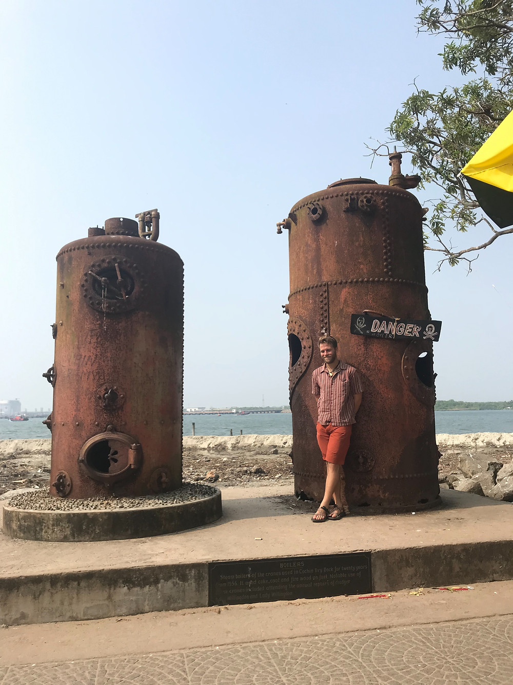 Seaside rusty boiler in Fort Kochi (Cochin) India