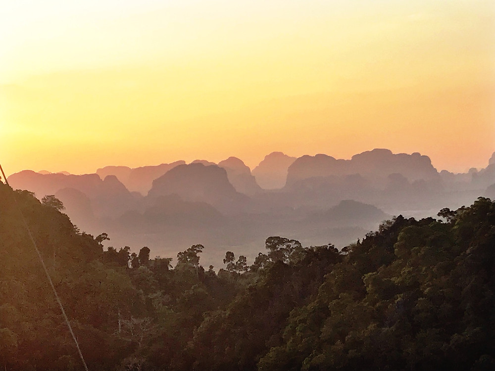 Clifs and sunset from Tiger Temple outside of Krabi, Thailand