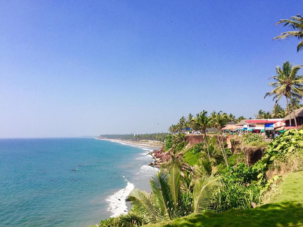 Cliffs and ocean in Varkala, India
