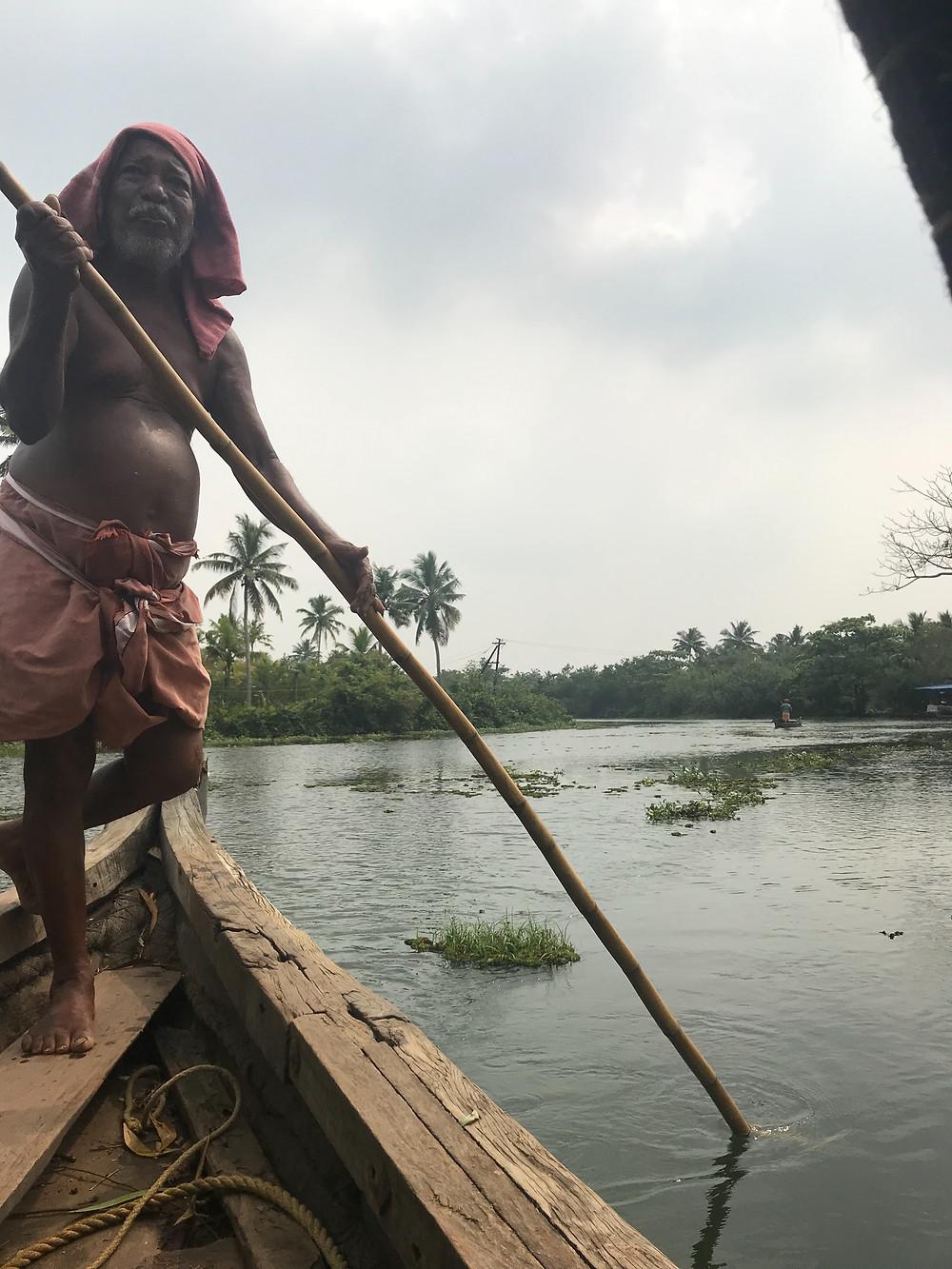 Kerala backwater tour on long boat.