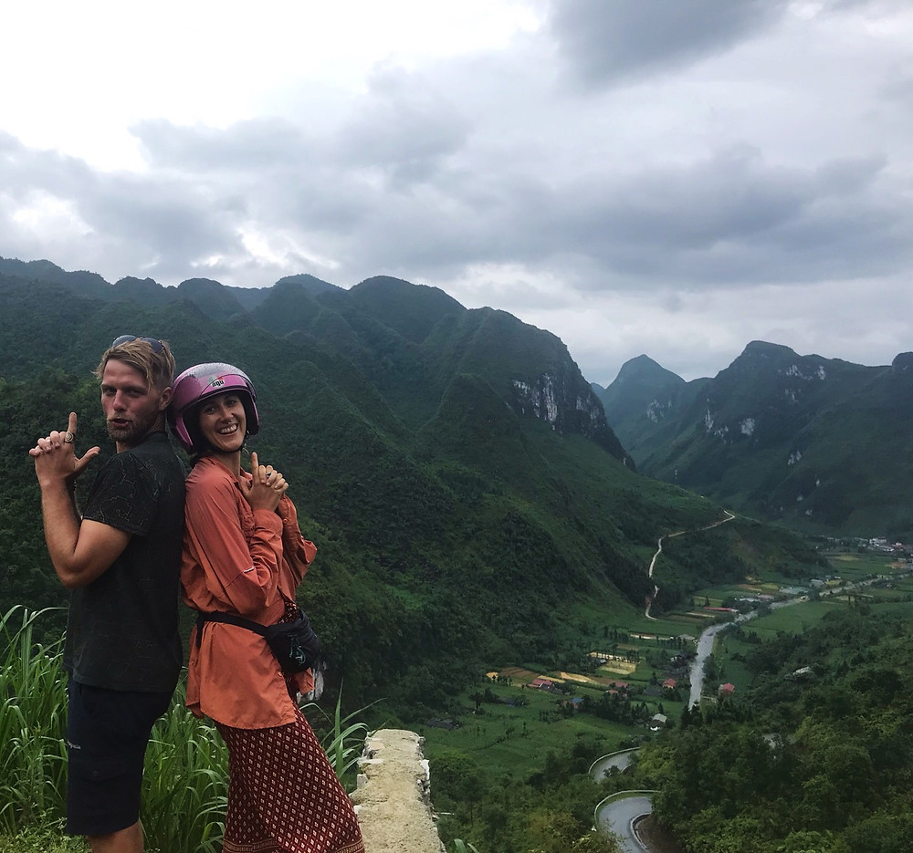 Couple poses on the Ha Giang Loop, Northern Vietnam