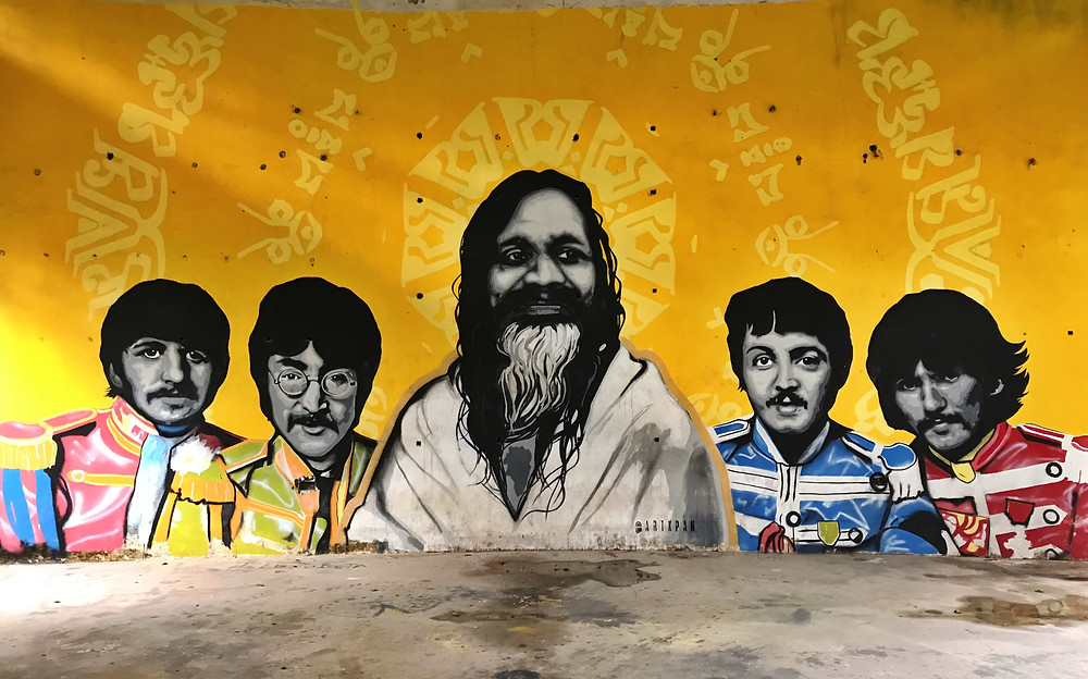 The Beatles and Maharishi in India.