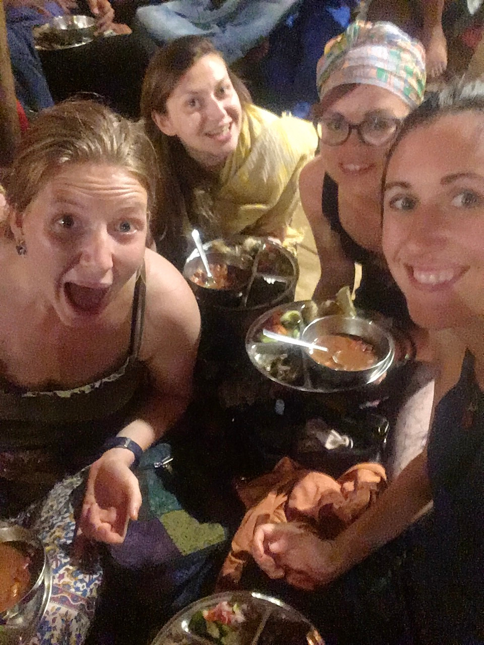 Vegan dinner and movie night at Sadhana Forest, Auroville, India.