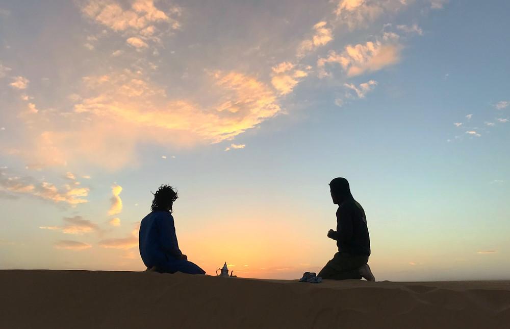 Mint tea in the Sahara Desert at sunset