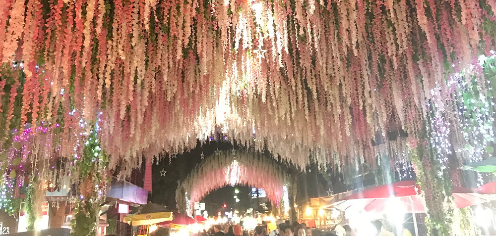 Downtown Pai walking street pink flowers during night market.
