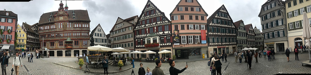 Traditional buildings in Tubingen Germany central square.