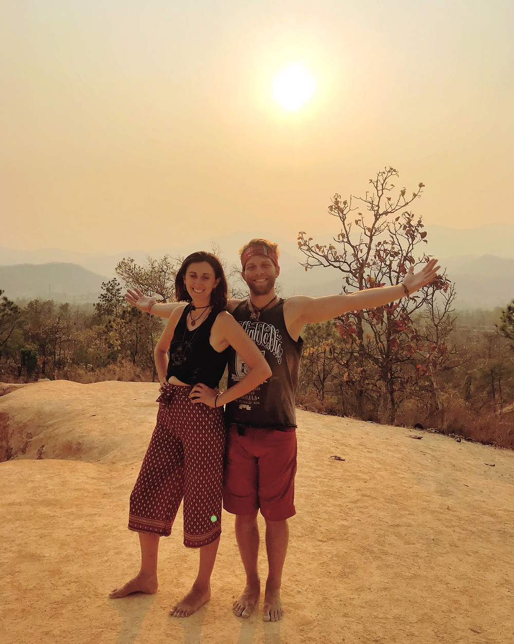 Happy traveling couple at Pai Canyon.