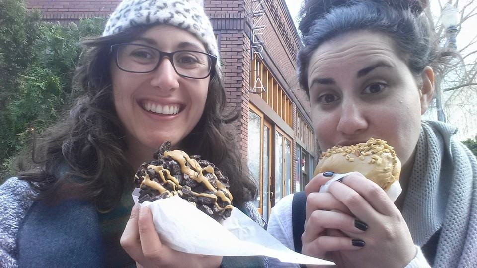 Vegan oreo and peanut butter donuts from voodoo donuts in Portland, Oregon.