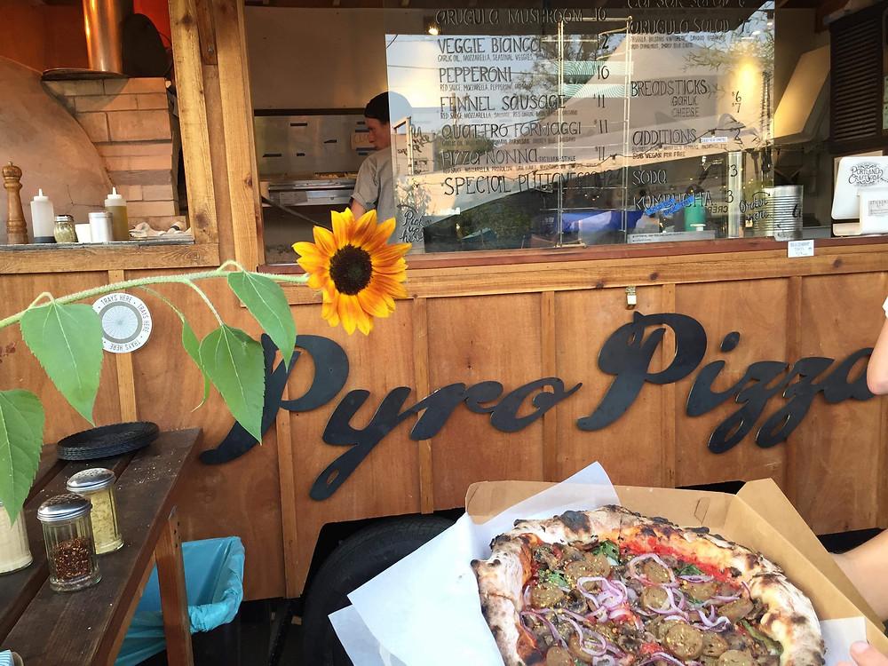Vegan Pizza at Pyro Pizza in Portland, Oregon.