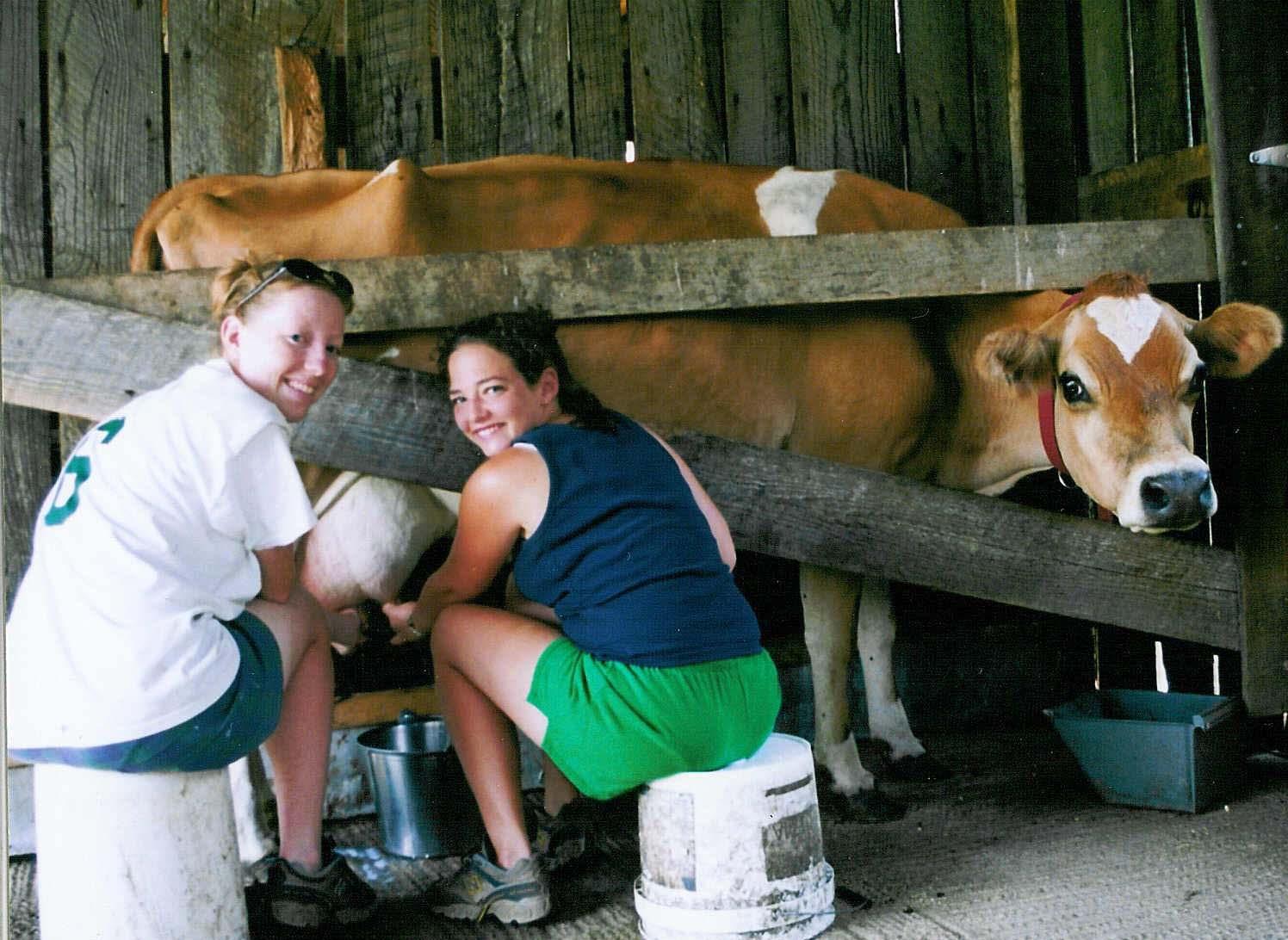 Jennifer Wine and Rachel Gaby milk Cora cropped