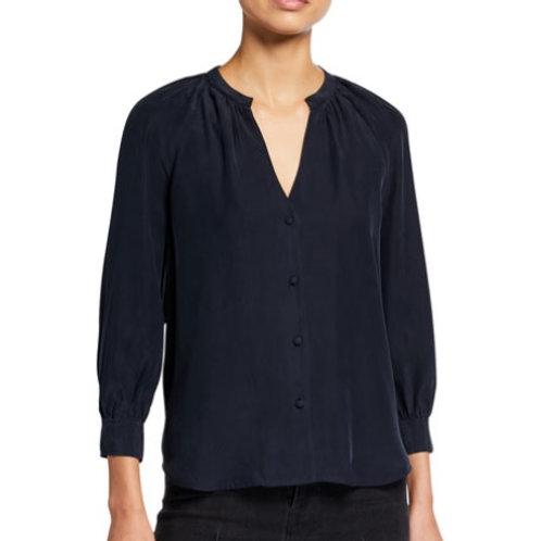Frame Raglan Sleeve Silk Button Front