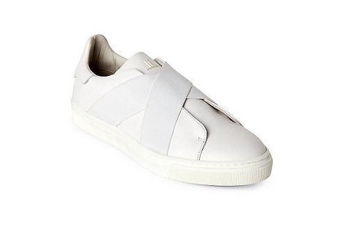 Louis Leeman White Crisscross Leather Low-Top Sneakers