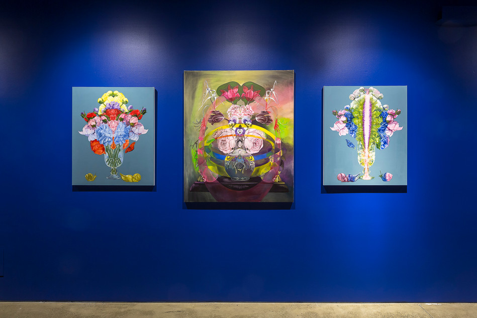 Installation of floral paintings at UNSW Galleries