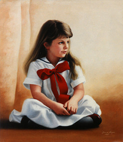 Young girl with red bow