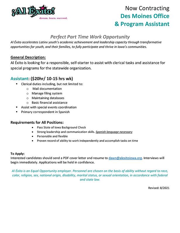 Al Exito Office and Program Assistant Contractor Job Description 8.5.21-1.png