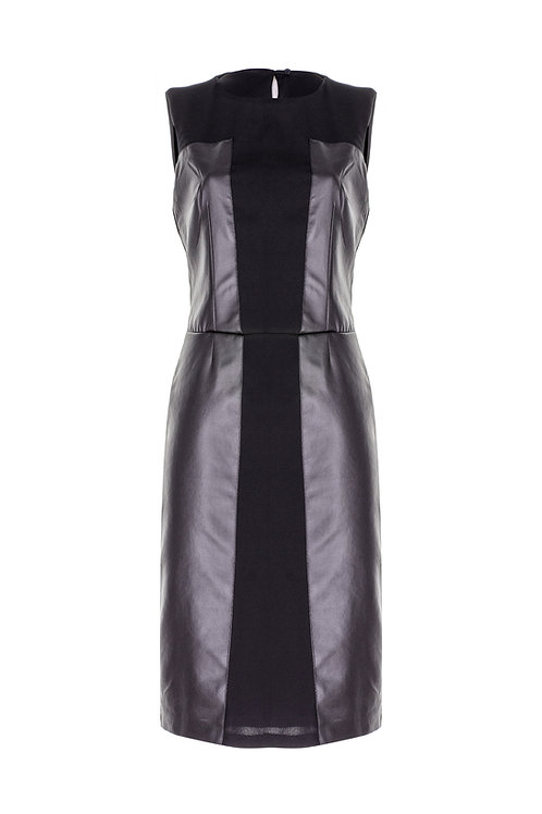 derya özalp elegant styling - Deri Garnili Siyah Elbise