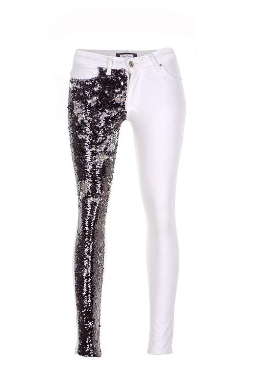 Mathmazeil  - Beyaz Payet Garnili Pantolon