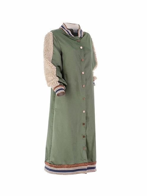 İşlemeli Uzun Yeşil Ceket