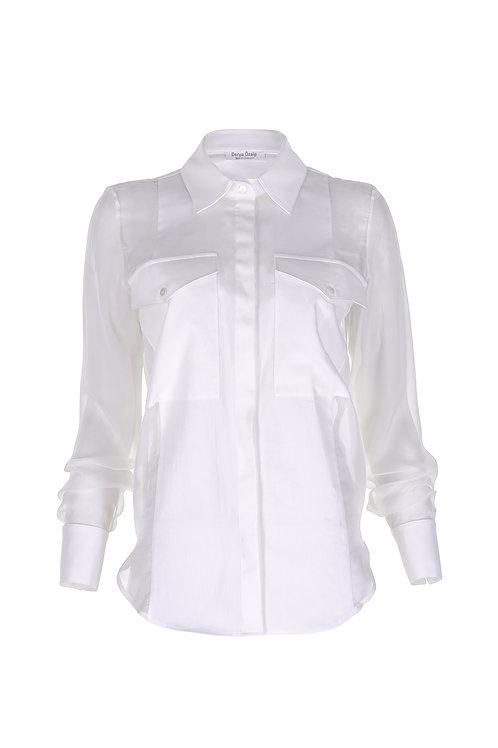 Yanlar Şifon Garnili Beyaz Gömlek