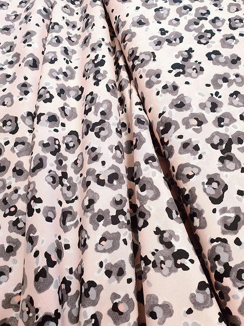 Pink - Grey Animal Print Viscose
