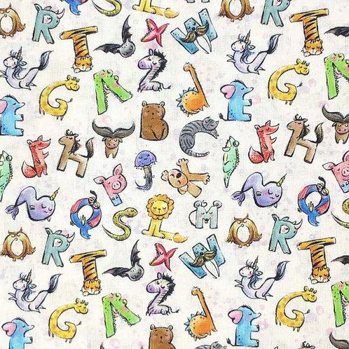 100% Cotton - Animal Alphabet