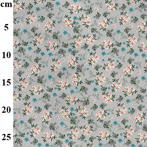 Grey Small Flower Print - 100% Cotton