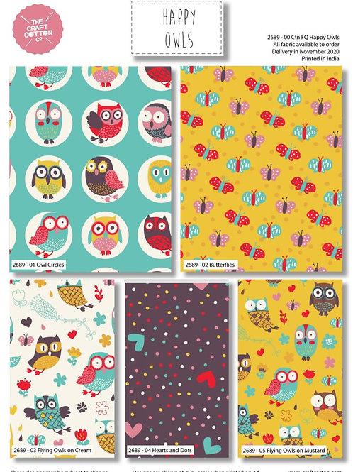 Happy Owls - Fat Quarter Pack - 5 FQ's