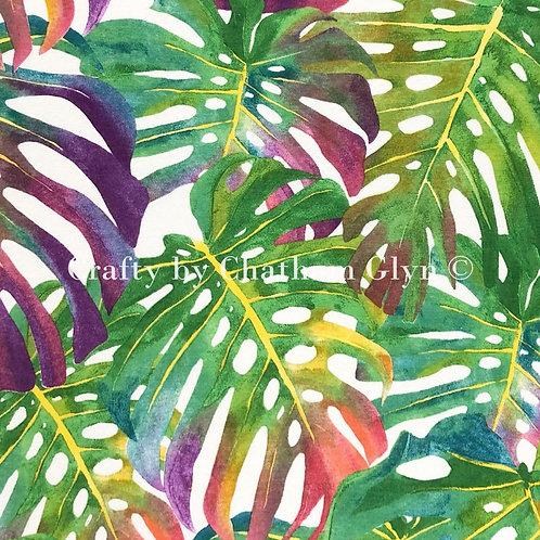 Cotton Linen Craft Canvas - Tropical Leaves Summer