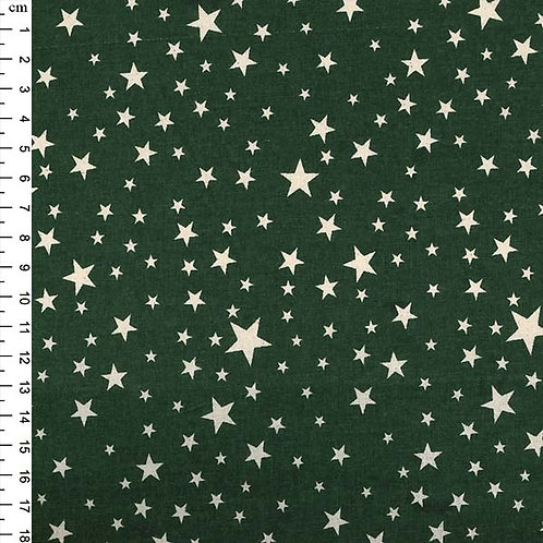 100% Cotton - Green with Silver Stars