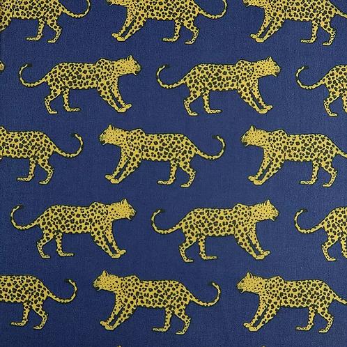Navy Leopard Polycotton Print