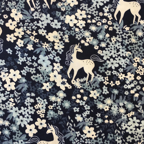 Viscose - Blue Unicorn and Flowers