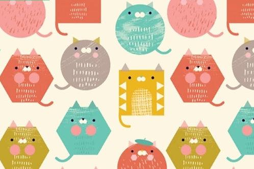 Dashwood - Hexagon cats - 100% cotton