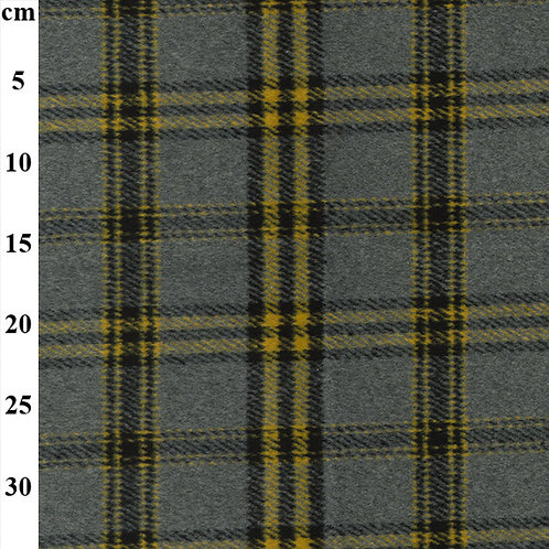 Poly Wool Check - Grey with Colour Stripe
