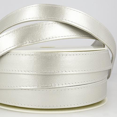 Webbing: Faux Leather: 25mm - Silver
