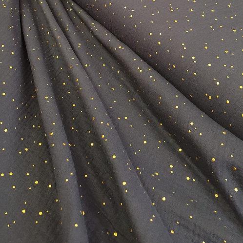 Navy Glitter Double Gauze - 100% cotton