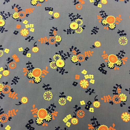 Grey Poly/Cotton with yellow and orange floral Print