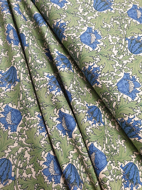 Cotton Lawn green leaves with blue flowers