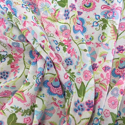 White chiffon with pretty floral print - Dressmaker Deal