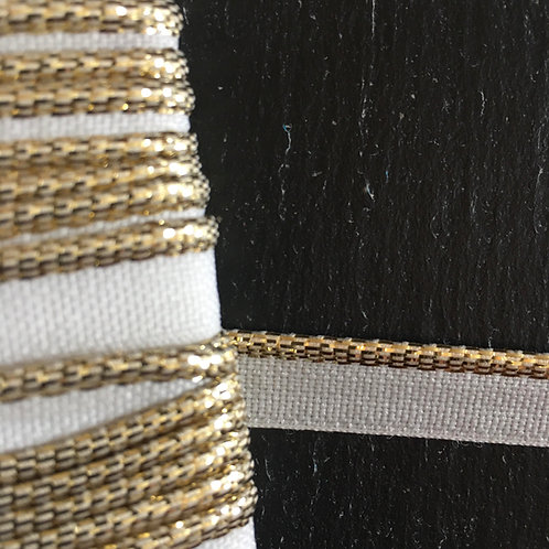Piped cord - White/Gold 11mm (3mm cord)