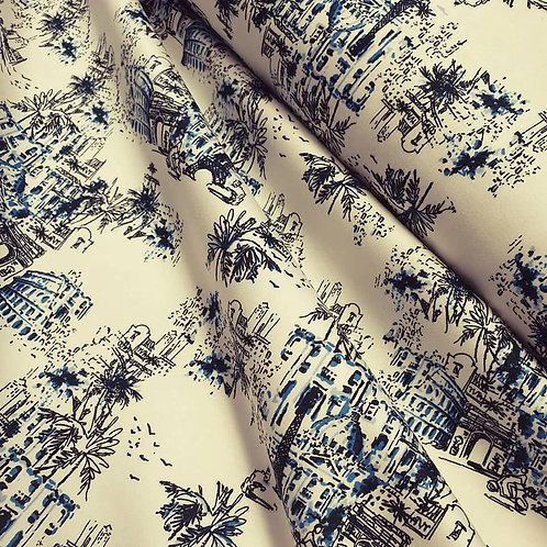 Stretch Cotton Sateen - blue and white