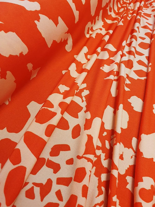 Orange and white polyester jersey - Dressmaker Deal
