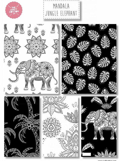 Mandala Jungle Elephant - Fat Quarter Pack - 5 FQ's