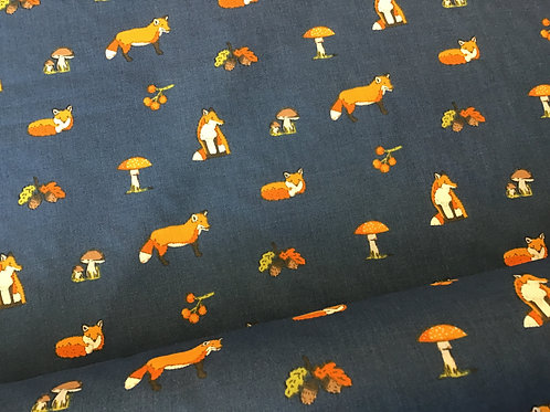 Fox and Toadstool - Light Navy