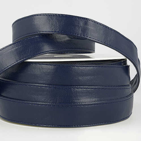 Webbing: Faux Leather: 25mm - Navy