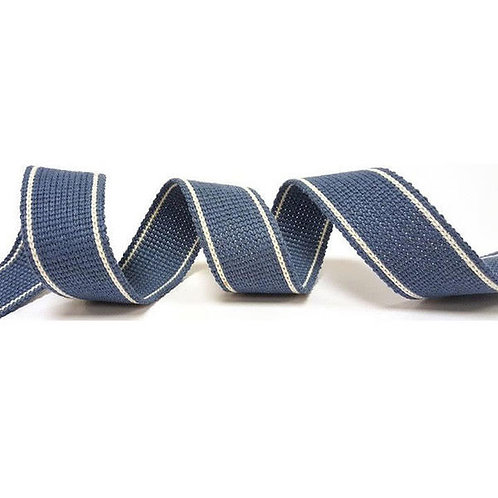 KRCA Webbing - 3 cm - Denim blue with white stripe