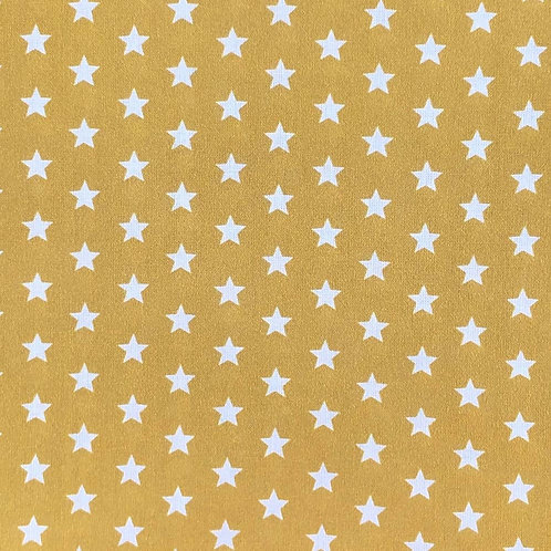 100% Cotton - Small star Mustard Gold