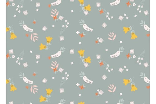 Dashwood grey with birds - 100% cotton