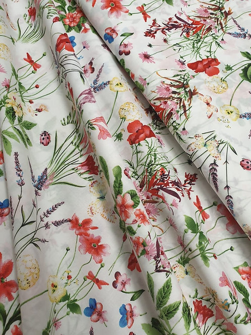 Sprigs of Summer Flowers on a cream background - cotton lawn